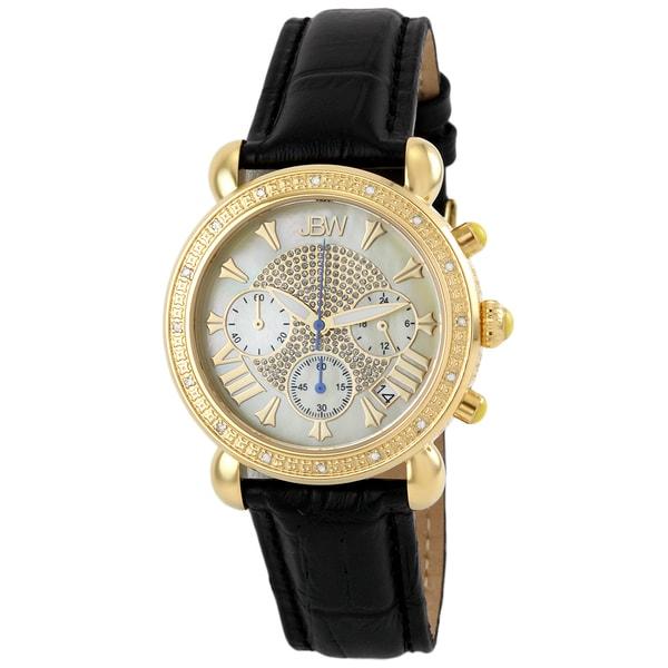 JBW Women's Stainless Steel Black Leather Diamond Watch - Gold 10399073