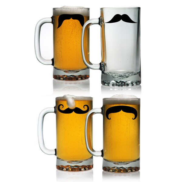 Moustache Pub Beer Mugs, 16-ounce, set of 4