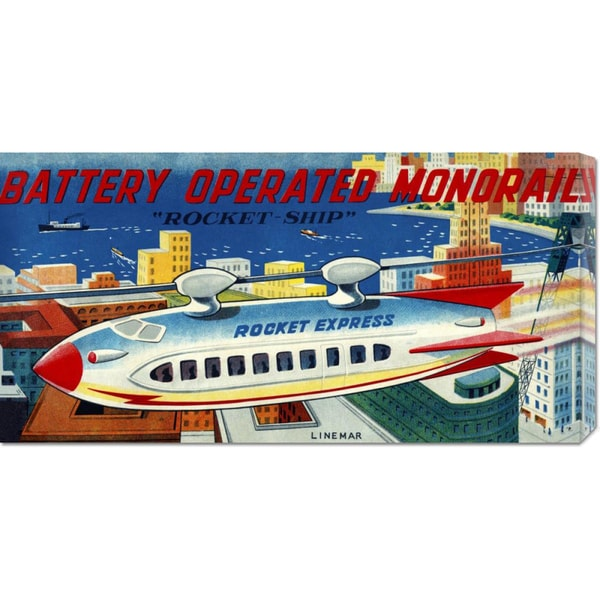 Retrorocket 'Battery Operated Monorail Rocket Ship' Stretched Canvas
