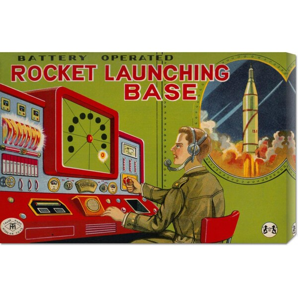 Retrobot 'Rocket Launching Base' Stretched Canvas