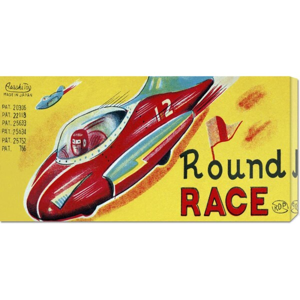 Retrotrans 'Round Race Rocket Car' Stretched Canvas