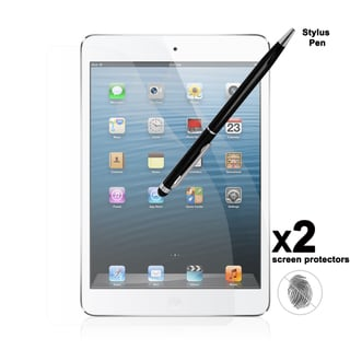 Apple iPad Mini Anti-Fingerprint Screen Protector (2 pack) with Dual-Purpose Stylus and Retractable Ballpoint Pen