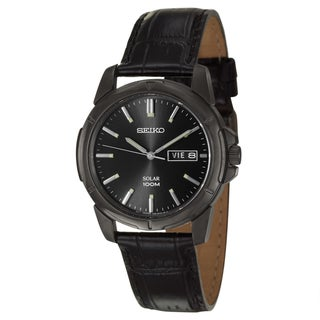 Seiko Men's 'Solar' Black Stainless Steel Watch