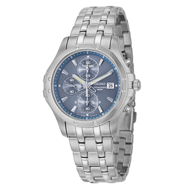 Seiko Men's 'Sportura' Blue-Dial Stainless-Steel Chronograph Watch
