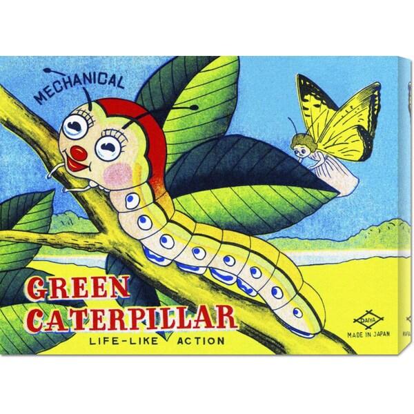 Retrobot 'Mechanical Green Caterpillar' Stretched Canvas Art