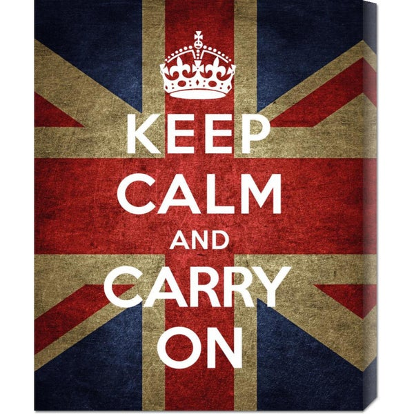 Big Canvas Co. The British Ministry of Information 'Keep Calm and Carry On - Union Jack' Stretched Canvas Art