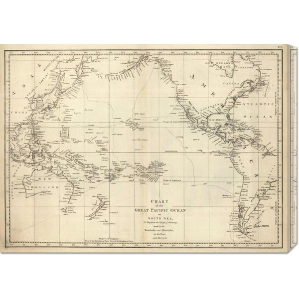 Big Canvas Co. Jean-Francois de Galaup La Perouse 'Chart of the Great Pacific Ocean, 1799' Stretched Canvas