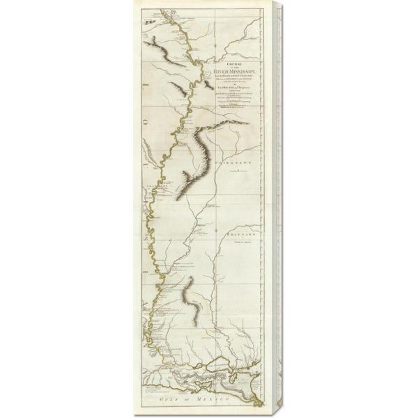 Lieut. Ross 'Course of the River Mississipi, from the Balise to Fort Chartres, 1775' Stretched Canvas