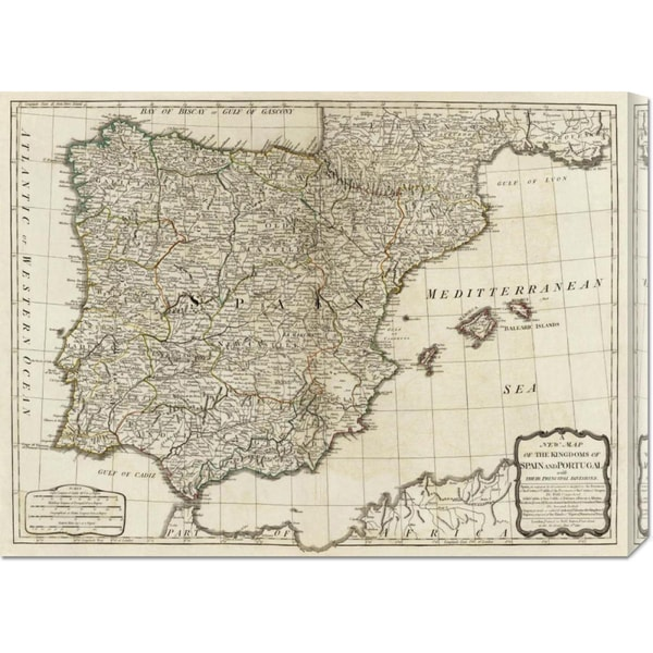 Thomas Kitchin 'A new map of the Kingdoms of Spain and Portugal, 1790' Stretched Canvas