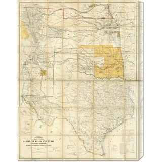 United States War Department 'Map of The States of Kansas and Texas and Indian Territory, 1867' Stretched Canvas