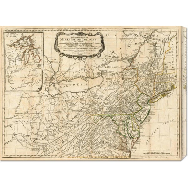 Robert Sayer 'A General Map of the Middle British Colonies, in America, 1776' Stretched Canvas Art