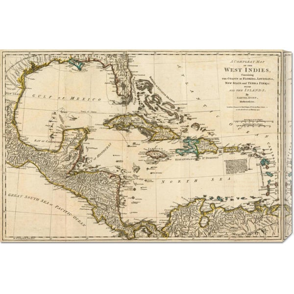 Robert Sayer 'A Complete Map of the West Indies, 1776' Stretched Canvas Art