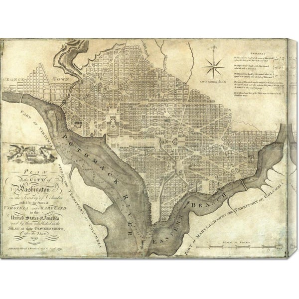 John Reid 'Plan of the City of Washington, 1795' Stretched Canvas Art