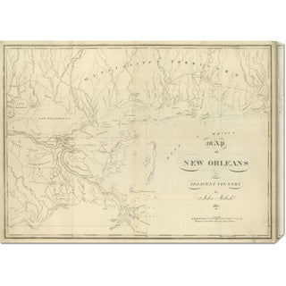 John Melish 'Map of New Orleans and Adjacent Country, 1824' Stretched Canvas Art