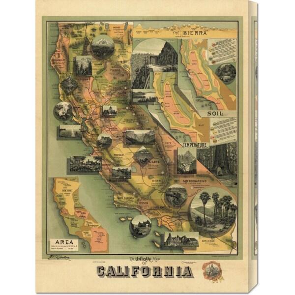 E. McD. Johnstone 'The Unique Map of California, 1885' Stretched Canvas Art