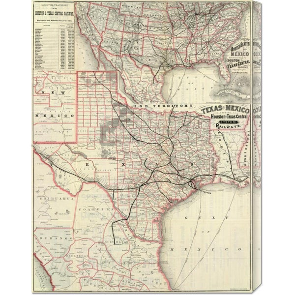 Houston and Texas Central Railway 'Texas and Mexico, Houston and Texas Central Railways, 1885' Stretched Canvas Art