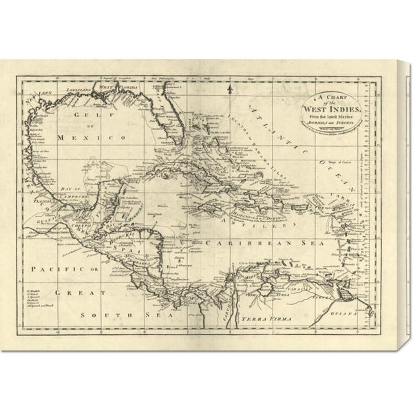 Big Canvas Co. Mathew Carey 'Chart of the West Indies, 1795' Stretched Canvas Art