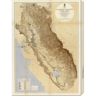 California Irrigation Commission 'Map of The San Joaquin, Sacramento and Tulare Valleys, 1873' Stretched Canvas Art