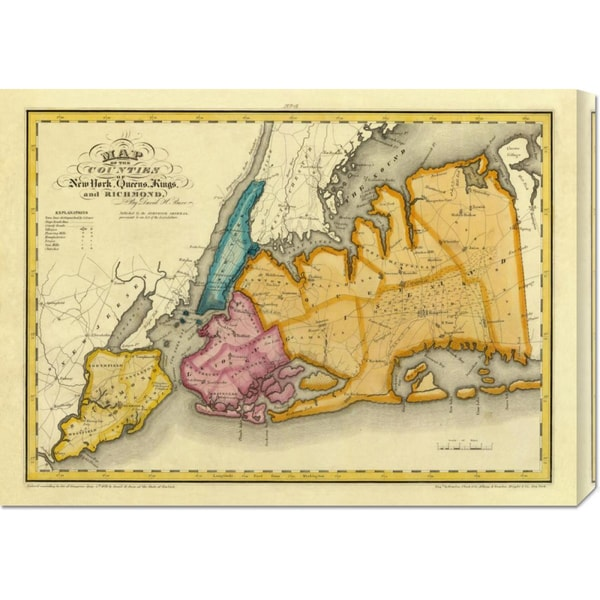 Big Canvas Co. David H. Burr 'New York, Queens, Kings, Richmond counties, 1829' Stretched Canvas Art