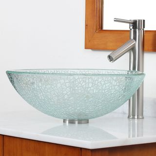 CAE Etched Clear Cracking Glass Vessel Bathroom Sink and Faucet Set