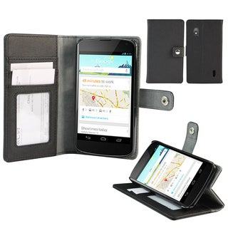 Deluxe Google Nexus 4 Black Wallet Stand Cover
