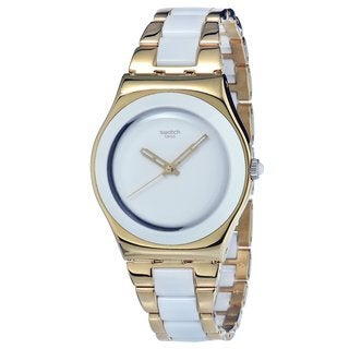 Swatch Women's Yellow Pearl Stainless Steel Bracelet Watch