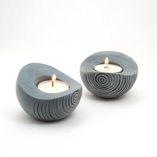 Set of 2 Palewa Soapstone Tea Light Holder (India)