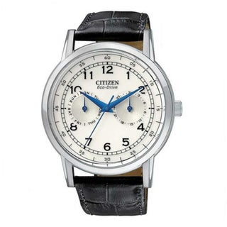 Citizen Men's 'Eco Drive' Multifunction Leather Strap Watch