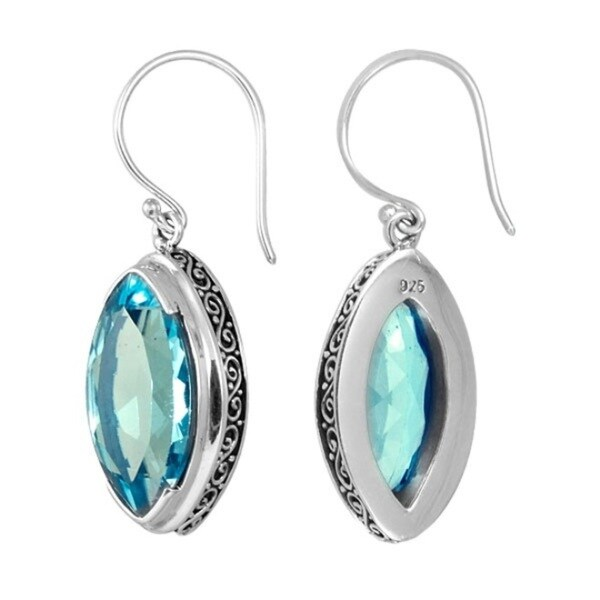 Sterling Silver Bali Faceted Marquise Shape Blue Topaz Earrings (Indonesia)