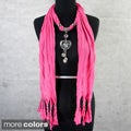 Fashion Jewelry Scarf with Heart and Charms Pendant