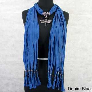 Fashion Jewelry Scarf with Silvertone Dragonfly Pendant