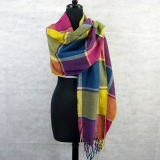 Multicolor Block Plaid Scarf/ Wrap Shawl