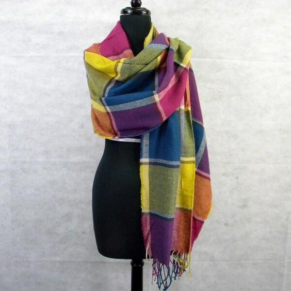 Multicolor Block Plaid Scarf/ Wrap Shawl