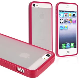 BasAcc Frost Clear/ Hot Pink Bumper Snap-on Case for Apple iPhone 5