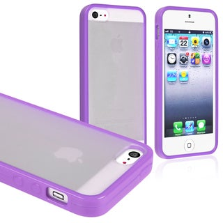 BasAcc Frost Clear/ Purple Bumper Snap-on Case for Apple iPhone 5