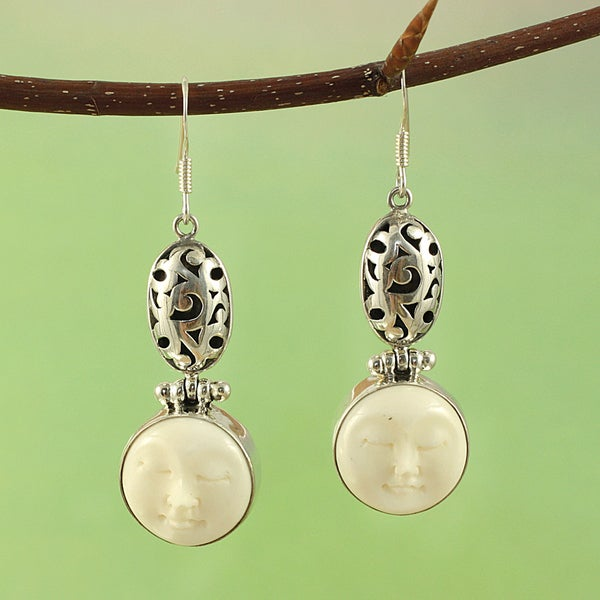 Sterling Silver and Cow Bone Serenity Dangle Earrings (Indonesia)