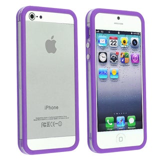 INSTEN Clear/ Purple Bumper Phone Case Cover for Apple iPhone 5/ 5S