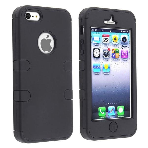 BasAcc Black/ Black Hybrid Rubber Case for Apple iPhone 5
