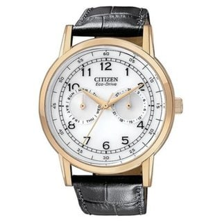CItizen Men's 'Eco Drive' Multifunction Black Leather Strap Watch