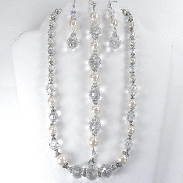 Off-white Pearl and Clear Crystal Wedding Jewelry Set