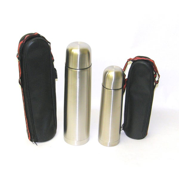 Prime Pacific 1 Liter / .5 Liter Stainless Steel Beverage Thermos Flask with carry case