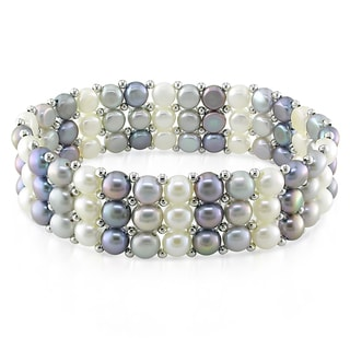 M by Miadora Silvertone White, Grey and Black Cultured Freshwater Pearl Bracelet (5-5.5 mm)