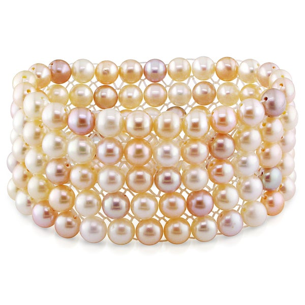 M by Miadora Pink Cultured Freshwater Pearl 5-row Bracelet (7-8 mm )