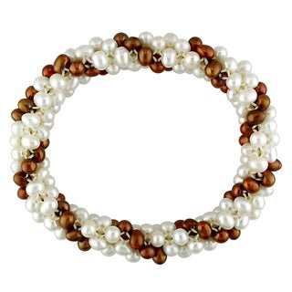 Miadora White and Brown FW Pearl Multi-row Stretch Bracelet (4-5 mm)