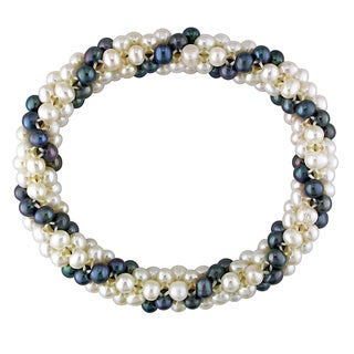 M by Miadora White and Black Cultured Freshwater Pearl Stretch Bracelet (4-5 mm)