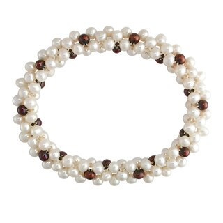 M by Miadora White and Brown Cultured Freshwater Pearl Stretch Bracelet (4-5 mm)