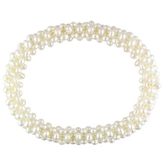 M by Miadora White Cultured Freshwater Pearl Stretch Bracelet (4-5 mm)