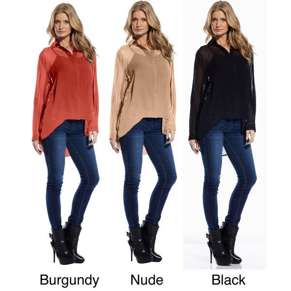 Elan Women's Chiffon High-low Hemline Shirt