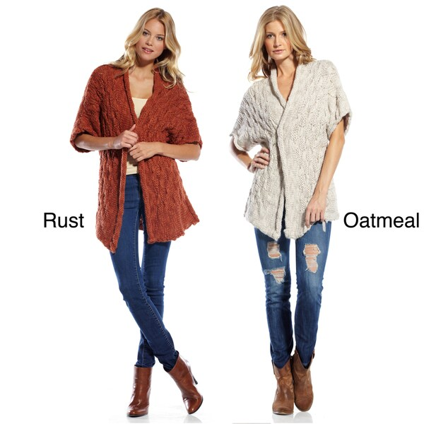 Elan Women's Textured Knit Cardigan with Pin