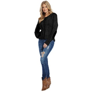 Elan Women's Black Chain Link Knit Sweater